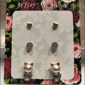 NWT•Betsey Johnson Cat earrings Trio